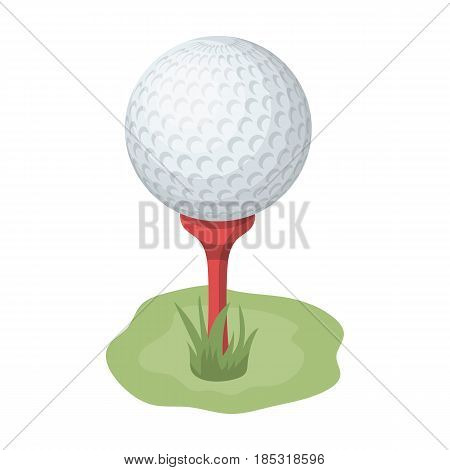 Golf ball on the stand.Golf club single icon in cartoon style vector symbol stock illustration .
