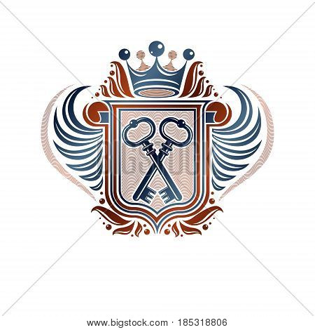 Heraldic Coat Of Arms Decorative Emblem With Cartouche. Empty Winged Protection Shield Emblem Create