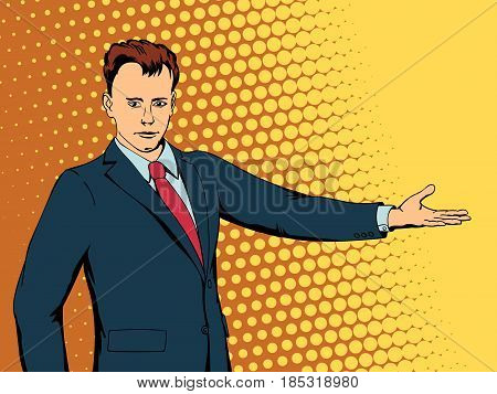 Happy businessman points direction. Retro style pop art. Vector illustration