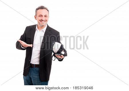 Successful Man Presenting Modern Vr Glasses
