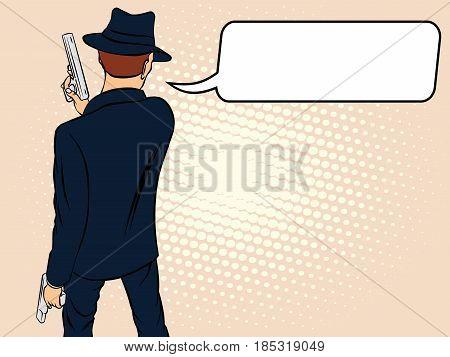 Mafioso with Gun. Pop Art Mafia Boss.