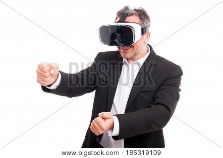 Attractive Man With Virtual Reality Glasses
