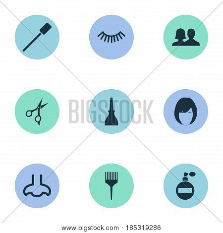 Vector Illustration Set Of Simple Spa Icons. Elements Eyelash Brush, Comb, Fragrance And Other Synonyms Hairstylist, Nails And Mascara.