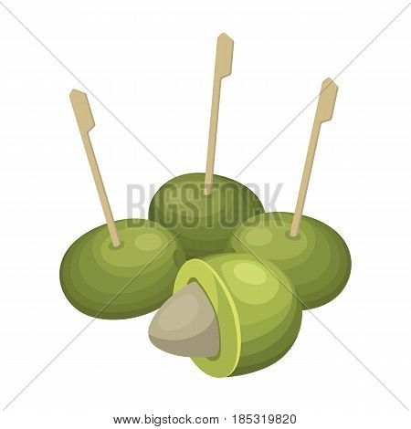 Olive with a stone on a stick.Olives single icon in cartoon style vector symbol stock illustration .