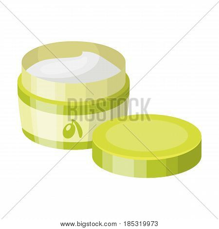 A can of olive cream.Olives single icon in cartoon style vector symbol stock illustration .