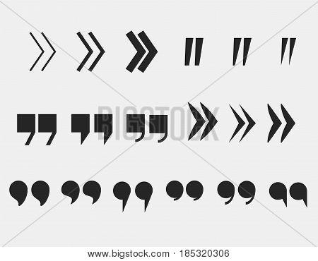 quote marks set quotation mark symbols  citation icons