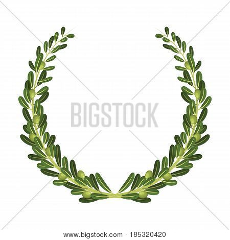 Wreath from olive branches.Olives single icon in cartoon style vector symbol stock illustration .
