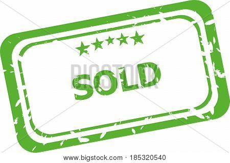 Sold Grunge Rubber Stamp Isolated On White Background