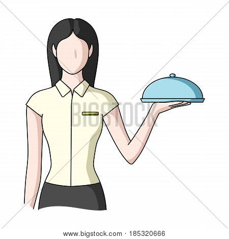 The waitress.Professions single icon in cartoon style vector symbol stock illustration .