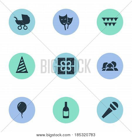Vector Illustration Set Of Simple Birthday Icons. Elements Cap, Speech, Mask And Other Synonyms Speech, Microphone And Fizz.