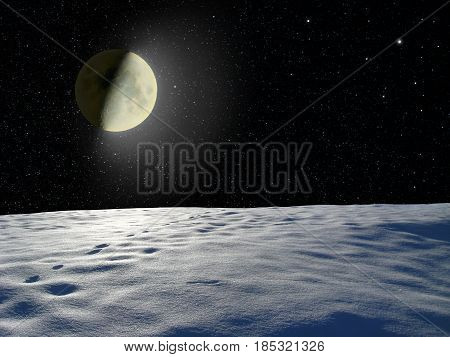 Moon glowing near the surface unknown planet in the dark space. Cosmic landscape