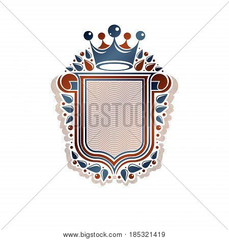 Blank Heraldic Design With Copy Space And Cartouche, Vector Vintage Protection Shield Emblem Decorat