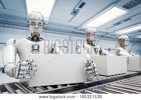 Robot Working With White Boxes