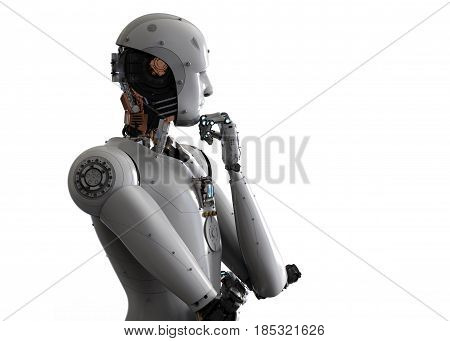 3d rendering android robot thinking on white background