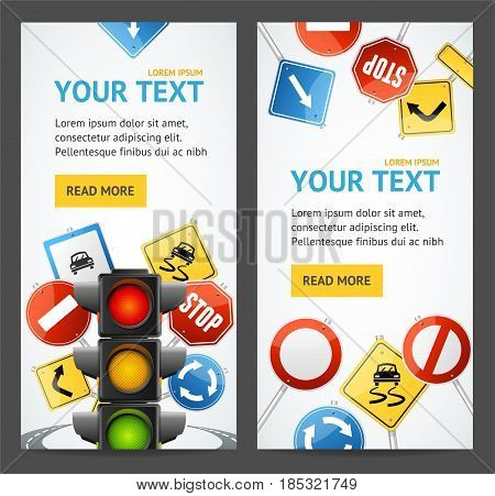 Road Sign Drive School Flyer Banner Posters Card Vertical Set Education, Training and Exam. Vector illustration