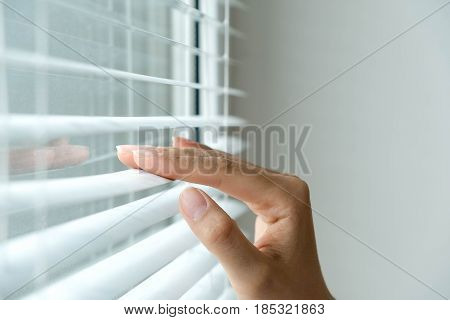 Windows Jalousie. Woman Peeking Through Window Blinds. Male Hand Separating Slats Of Venetian Blinds