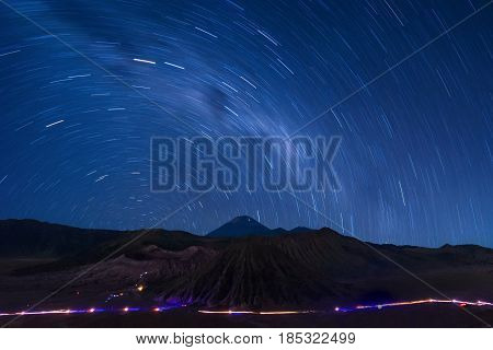 Extreme Long Exposure Image Showing Star Above The Bromo Volcano, Indonesia