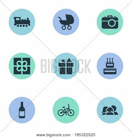 Vector Illustration Set Of Simple Holiday Icons. Elements Camera, Beverage, Ribbon And Other Synonyms Camera, Gift And Sweetmeat.