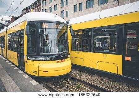 Berlin City Tram, Electric Train On The Street At Warschauerstr. In Berlin