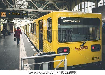 Berlin Subway Train At Train Station In Berlin