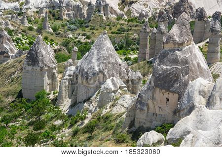 Stone formations of Love valley in Cappadocia Central Anatolia Turkey