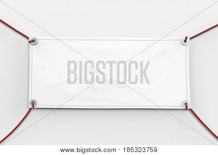 3d rendering blank white vinyl banner hanging with rope