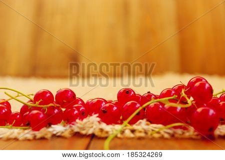 clusters of fresh ripe berries of red currant. still life