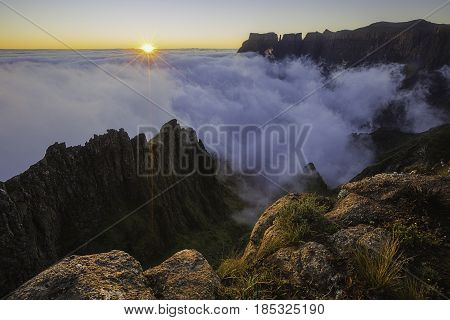 Sunrise at the Witches on the Drakensberg escarpment in South Africa