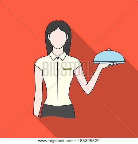 The waitress.Professions single icon in flat style vector symbol stock illustration .