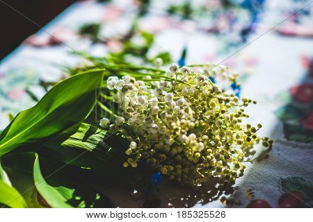 Lily of the valley and forget me not on the old table