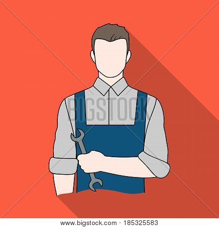 Fitter mechanic.Professions single icon in flat style vector symbol stock illustration .