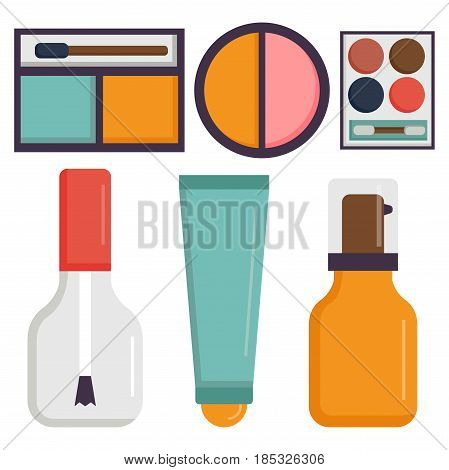 Makeup icons perfume mascara care brushes and comb faced eyeshadow glamour female accessory. Vector set beauty fashion professional facial cosmetic elements.