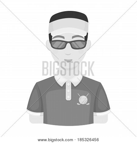 Golfer.Golf club single icon in monochrome style vector symbol stock illustration .