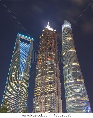 SHANGHAI CHINA - NOVEMBER 1, 2016: Shanghai Pudong financial district cityscape China.