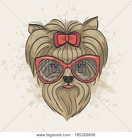 Vector color sketch of elegant dog womans face with bow and sunglasses. Fashion look.