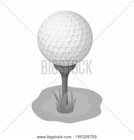 Golf ball on the stand.Golf club single icon in monochrome style vector symbol stock illustration .