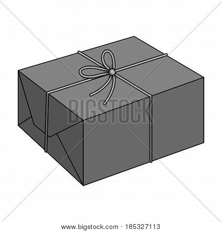 Postal parcel.Mail and postman single icon in monochrome style vector symbol stock illustration .