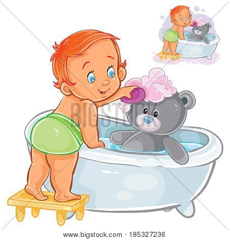 Vector illustration of a baby bathes his teddy bear in the bathtub. Print, template, design element