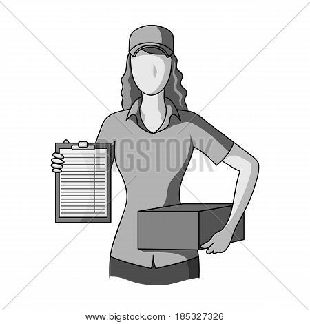 Postal courier.Mail and postman single icon in monochrome style vector symbol stock illustration .