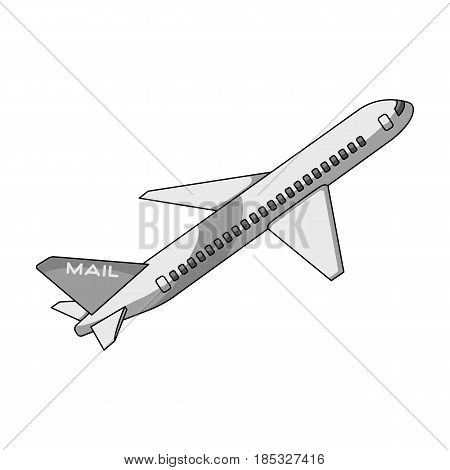 Postal aircraft.Mail and postman single icon in monochrome style vector symbol stock illustration .