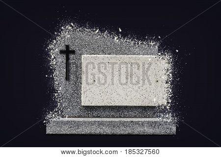 Single Grave Stone Shattered