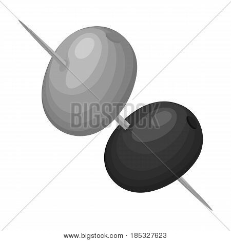 Black and green olives on skewers.Olives single icon in monochrome style vector symbol stock illustration .