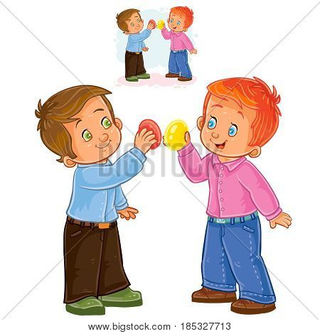 Vector Easter illustration of two small boys and a traditional egg fight. Print, shablon, design element