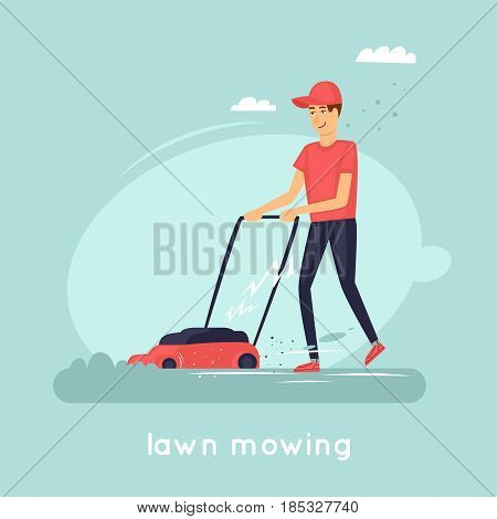 Guy mowing grass. Flat vector illustration in cartoon style.