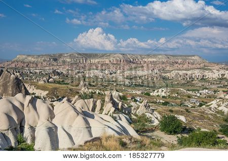 Stone formations in Goreme national park in Cappadocia Central Anatolia Turkey