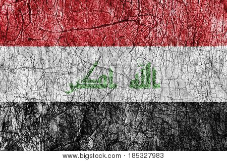 Grudge stone painted Iraq flag close up