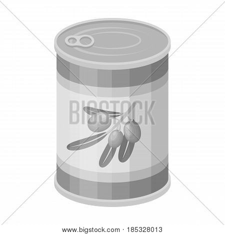 Canned olives in a can.Olives single icon in monochrome style vector symbol stock illustration .