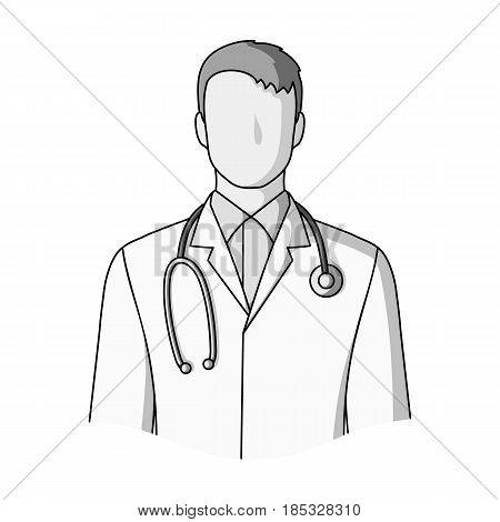 Doctor.Professions single icon in monochrome style vector symbol stock illustration .