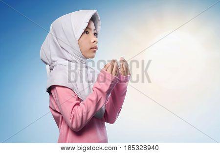 Little Asian Muslim Girl Praying To God