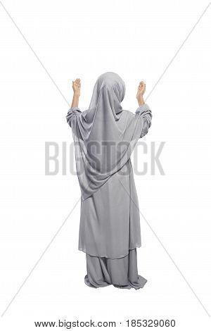Back View Asian Muslim Girl Raising Hand And Praying
